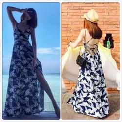 Đầm Maxi xanh hoa trắng - Chuyên hàng Quảng Châu chính gốc giá tốt