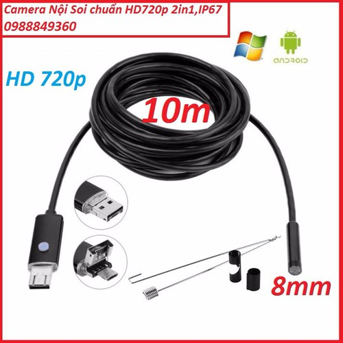 Camera nội soi chống nước độ nét cao HD720p_2in1 dài 10m