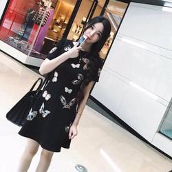 Đầm xoè tay con in hoạ tiết