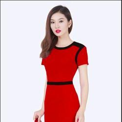 Đầm ôm phối đai tay ngắn