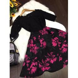 Đầm xoè ren tay ngắn phối tùng hoa