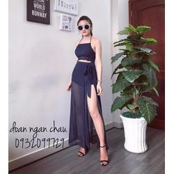 Set áo yếm viền ren + quần váy xẻ đùi - A29419