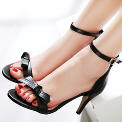 Giày cao gót quai ngang phối nơ - LN1104