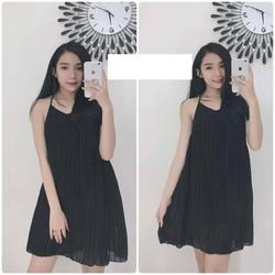 Váy nhũ hai dây xếp ly siêu đẹp