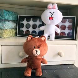 Cặp thú nhồi bông nhỏ gấu Brown và Thỏ Cony 25 cm