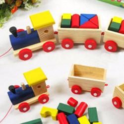 Bộ đồ chơi xếp hình xe lửa bằng gỗ