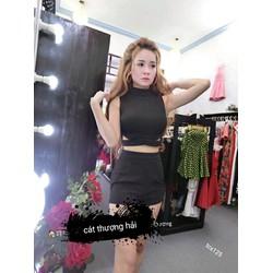 Set bộ áo croptop phối chân váy sành điệu TCS15