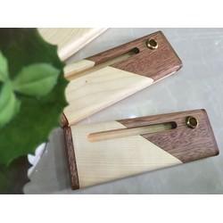 Combo Hộp viết gỗ 2 màu + viết gỗ + Bao khắc tên