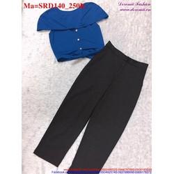 Sét áo croptop kiểu phối với quần lửng trẻ trung, năng động SRD140