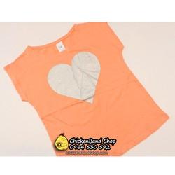 Áo phông hè bé gái hai màu trái tim size đại 12-14y Vàng cam