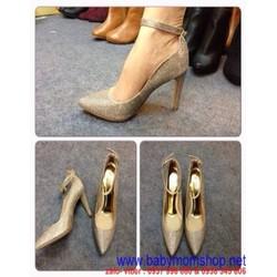 Giày cao gót quai cổ chân chất liệu bố vàng đính kim tuyến GCN183