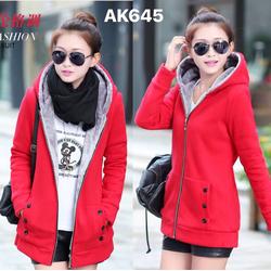 Áo khoác nỉ liền mũ lót lông nhung ấm áp màu sẵc trẻ trung-AK645