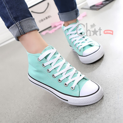 Giày Sneaker Nữ Cổ Cao Xanh Ngọc