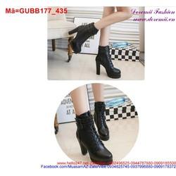 Giày boot cao gót nữ phối 2 khóa đan dây cực chất GUBB177