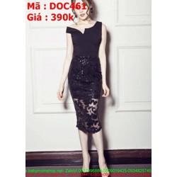 Đầm ôm đen sát nách chất liệu ren nổi DOC461