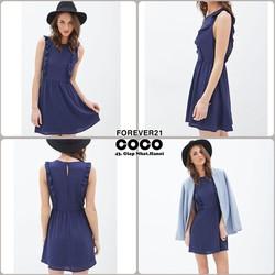 Váy xòe sát nách cách điệu F21 màu xanh