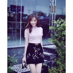 Sét áo thun tay con + chân váy in cành hoa liti siêu cute - SETKN1382