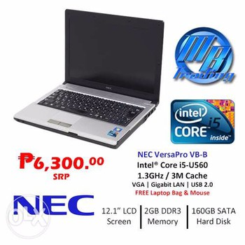 Nec vesapro VB i5 560 Ram 4G HDD 160G LED 12in Intel HD Pin 3-4H