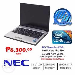 Nec vesapro VB i5 560 Ram 4G HDD 160G LED 12in Intel HD Pin 3-4H