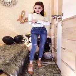 Quần jean dài nữ rách