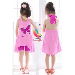 set đồ xuân hè in hình bươm bướm dễ thương cho bé gái 1-8 tuổi