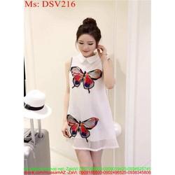 Đầm suông cổ sơ mi họa tiết cánh bướm DSV216