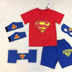 Bộ thun Superman kèm 4 món phụ kiên cho bé 12kg-35kg