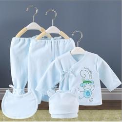 Bộ quần áo, mũ và yếm cho trẻ từ 0-6 tháng mặc mùa đông - VS004