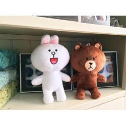 Cặp thú nhồi bông nhỏ gấu Brown và Thỏ Cony 35 cm