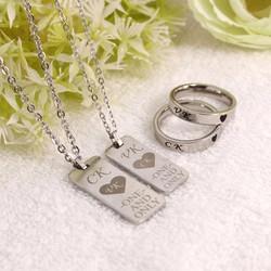 Bộ trang sức inox dây chuyền và lắc tay cặp đôi VK CK