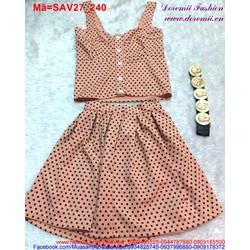 Set áo 2 dây váy chấm bi màu hồng da trẻ trung SAV27