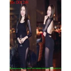 Đầm body đen phối lưới dài tay sang trọng quyến rũ DOC249