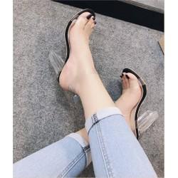 Giày gót vuông trong quai trong 9cm