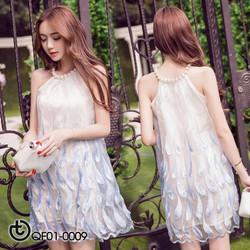 Đầm lông vũ cổ đính ngọc - hàng nhập Quảng Châu cao cấp