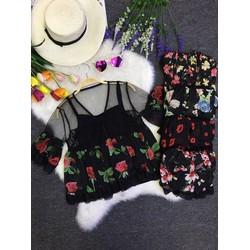 sét áo voan hoa kèm áo lót trong