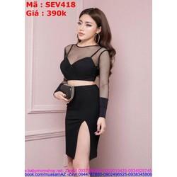 Sét áo kiểu phối lưới sexy và chân váy bút chỉ xẻ đùi SEV418