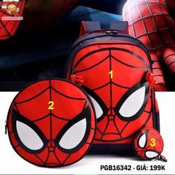 Set 3 món ba lô kaki người nhện dễ thương cho bé đi học