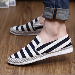 Giày Lười Kẻ Sọc Nam Phong Cách Hàn Quốc