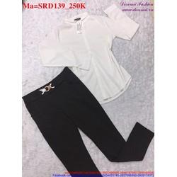 Sét áo tay dài trắng phối với quần dài đen thanh lịch SRD139 View