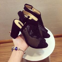 Giày bốt lưới cao gót cổ ngắn