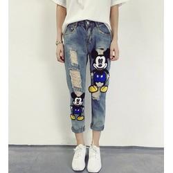 quần jeans nữ rách mickey Mã: QD1337