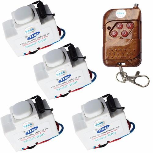 Bộ 04 công tắc điều khiển từ xa IR-RF TPE RI01+ 01 Remote 4 nút