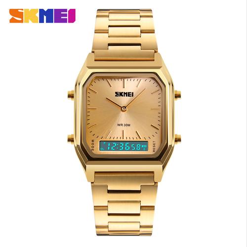 Đồng hồ điện tử 2 kênh Skmei AL92 phiên bản inox màu vàng