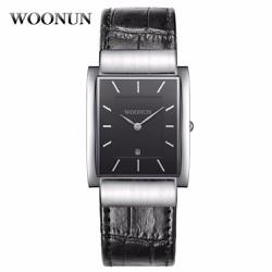 Đồng hồ dây da mặt chữ nhật Woonun AL93
