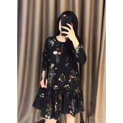 Đầm suông tay dài in hoa cúc bèo lai