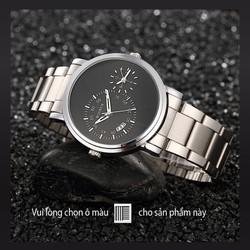Đồng hồ nam dây inox 2 máy có lịch  Woonun AL90 -vỏ trắng mặt đen