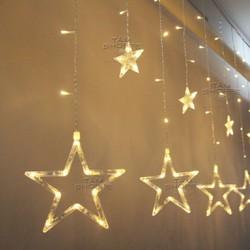 Đèn rèm ngôi sao lớn nhỏ xen kẽ vàng ấm