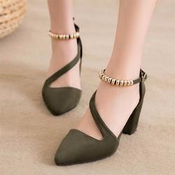 Giày gót vuông quai trang trí - Hàng Đẹp