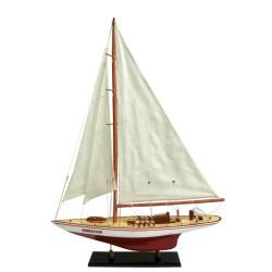 Mô Hình Du Thuyền Đua Gỗ J Endeavour - Thân 50cm - Sơn Trắng-Đỏ