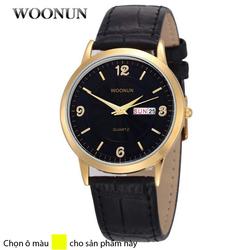 Đồng hồ dây da 2 lịch Woonun AL89,